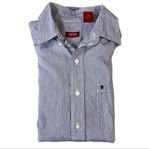 IZOD Gingham Stripe Dress Shirt Button Down